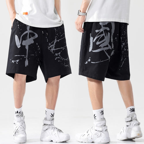 Prowow Summer Casual Men's Shorts Chinese Style Printing Beach Shorts Male 2021 New Loose Streetwear Men Pure Cotton Short Pants