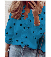 Load image into Gallery viewer, Blouse Shirts Office Lady 2020 Spring Summer Print Long Sleeve Ruffle Women Blouses Sexy V-neck  pullover Tops