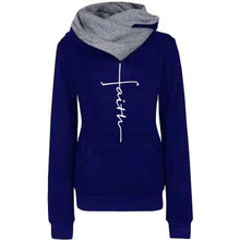 Load image into Gallery viewer, Autumn Winter Hoodies Sweatshirts Women Faith Embroidered Sweatshirt Long Sleeve Pullovers Christmas Casual Warm Hooded Tops