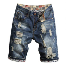 Load image into Gallery viewer, Retro Summer Men Ripped Denim Shorts Jeans Destroyed Hole Plus Size Fifth Pants Streetwear Summer Straight Denim Ripped shorts