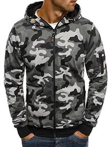 Covrlge Men's Zipper Hoodie 2019 New Autumn Camouflage Sweatshirts Hoody Casual Fashion Solid Streetwear Homme Hoodies MWW169