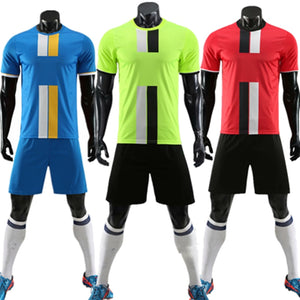 ZMSM Kids Adult Soccer Jersey Set Survetement Football Kit Men Child Football Training Uniform Vertical Stripes Tracksuit DN8103
