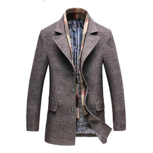 2020 Winter Men's Casual Wool Trench Coat Fashion Business Long Thicken Slim Overcoat Jacket Male Peacoat Brand Clothes 1717