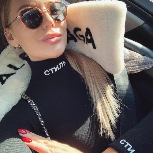InstaHot Cotton Turtleneck Letter Print Bodysuits Women Autumn Sexy Long Sleeve Playsuits Black Bodycon Tops Female Solid Style