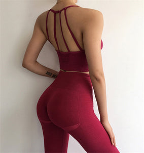 Peeli 2 Piece Yoga Set Sport Wear Women Sports Suit Fitness Gym Clothing Seamless Sports Bra Leggings Workout Running Tracksuits