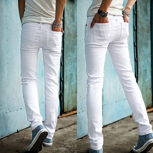High Quality 2020 Fashion Slim Male White Jeans Men's trousers Mens Casual Pants Skinny Pencil Pants Boys Hip Hop pantalon homme
