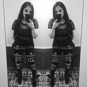 InstaHot Black Gothic Punk Letter Printed Legging Tapered Carrot Pants 5%Spandex Streetwear Women  Cotton Jogger Casual Trousers