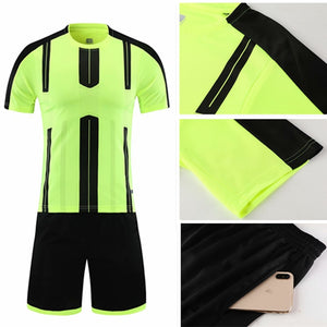 Kids Adult Soccer Jersey Set Survetement Football Kit Short Sleeve Training Suit Child Men Sportswear Blank Football Uniform DIY