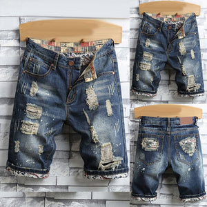 Retro Summer Men Ripped Denim Shorts Jeans Destroyed Hole Plus Size Fifth Pants Streetwear Summer Straight Denim Ripped shorts