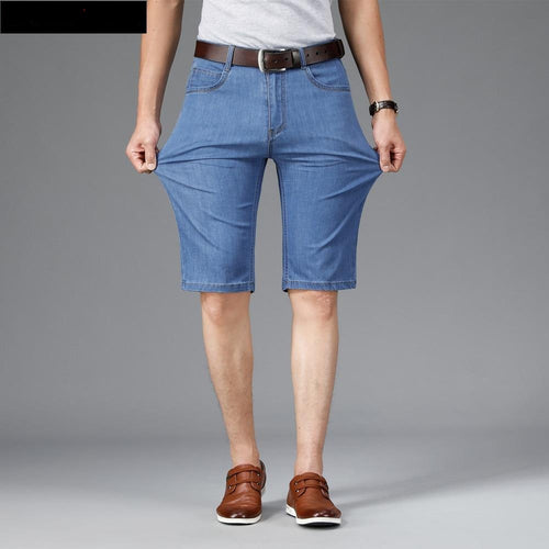 Summer Men's Thin Short Jeans Business Fashion Classic Style Light Blue Elastic Force Denim Shorts Male Brand Clothes
