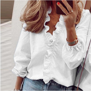 Blouse Shirts Office Lady 2020 Spring Summer Print Long Sleeve Ruffle Women Blouses Sexy V-neck  pullover Tops