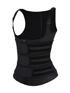 Women Black Latex Vest Shaper Adjustable Strap Zipper Abdominal Control