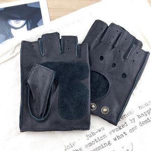 Winter Mens Genuine Leather Fingerless Gloves Black Half-Finger gym Workout - FIVE TIGERS