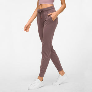 Women Drawstring  Pants Fitness Women Sweatpants with Two Side Pockets