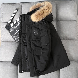 Thicken Down Coat Men With Big Real Fur Collar Warm Parka - FIVE TIGERS