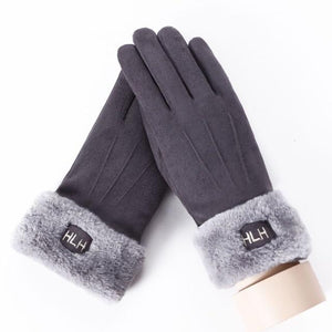 Women Touch Screen Suede Glove Winter Double Layer Furry fashionable Mittens - FIVE TIGERS