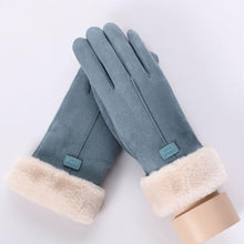 Load image into Gallery viewer, Women Touch Screen Suede Glove Winter Double Layer Furry fashionable Mittens - FIVE TIGERS