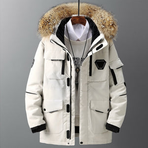 Thicken Down Coat Men With Big Real Fur Collar Warm Parka Men Coat Snow Parka Warm Windbreak Heavy Clothing Winter Down Jacket Outerwear- FIVE TIGERS