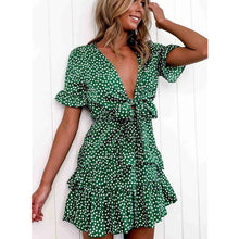 Load image into Gallery viewer, Women Dress Boho Floral Ruffle Short Mini Dress