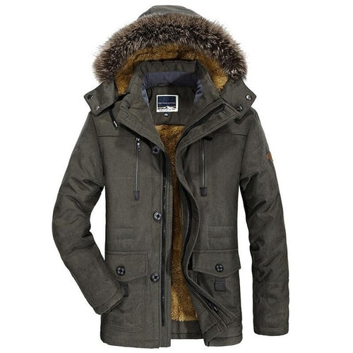 New Winter Men's Parka Jacket Thick Casual Fur Collar