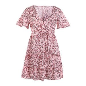 Women Dress Boho Floral Ruffle Short Mini Dress