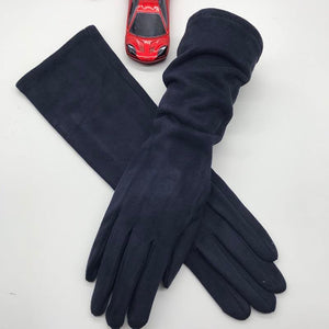 Winter 2020 new long style touch screen gloves black light gray fashion - FIVE TIGERS