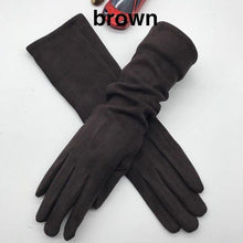 Load image into Gallery viewer, Winter 2020 new long style touch screen gloves black light gray fashion - FIVE TIGERS