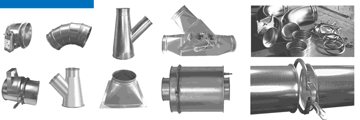 Elbows, Branches and Fittings for Clamp Together Ducting