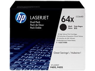 HP CC364XD #64X Dual Pack Black Toner Cartridge for Laserjet P4015
