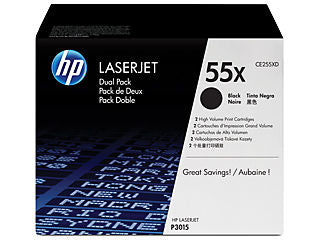 HP CE255XD #55X Dual Pack Toner Cartridge for Laserjet P3015