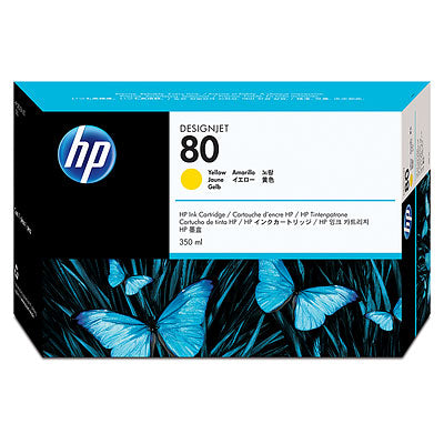 HP C4848A HP #80 Yellow (350 Ml) Inkjet Cartridge For Designjet 1000c Series