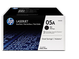 HP CE505D #05A Dual Pack Black Toner For Laserjet P2035/P2055