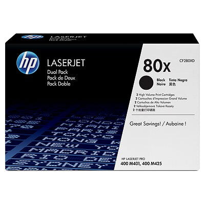 HP CF280XD #80X Black Toner Dual Pack for Pro M401/M425