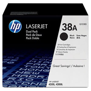 HP Q1338D #38A Black Toner Twin Pack For Laserjet 4200