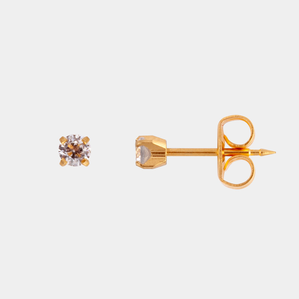 Studex 3mm Cubic Zirconia 24K Pale Gold Stud