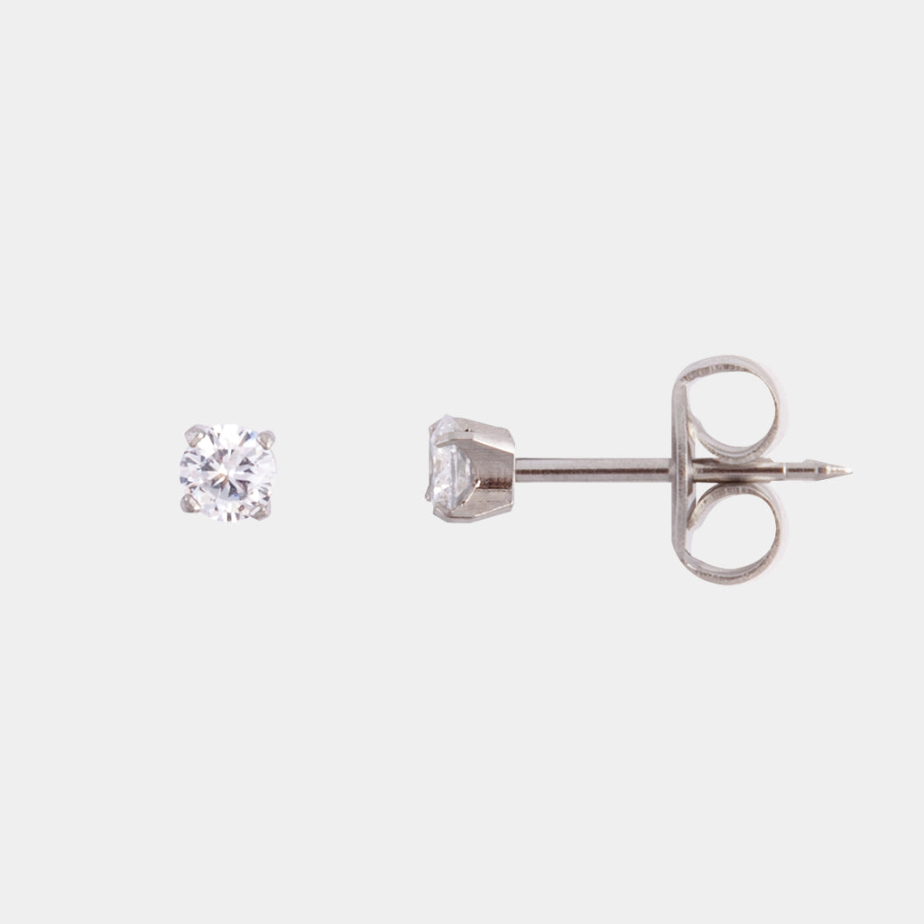 Studex 3mm Princess Cubic Zirconia Surgical Steel Stud