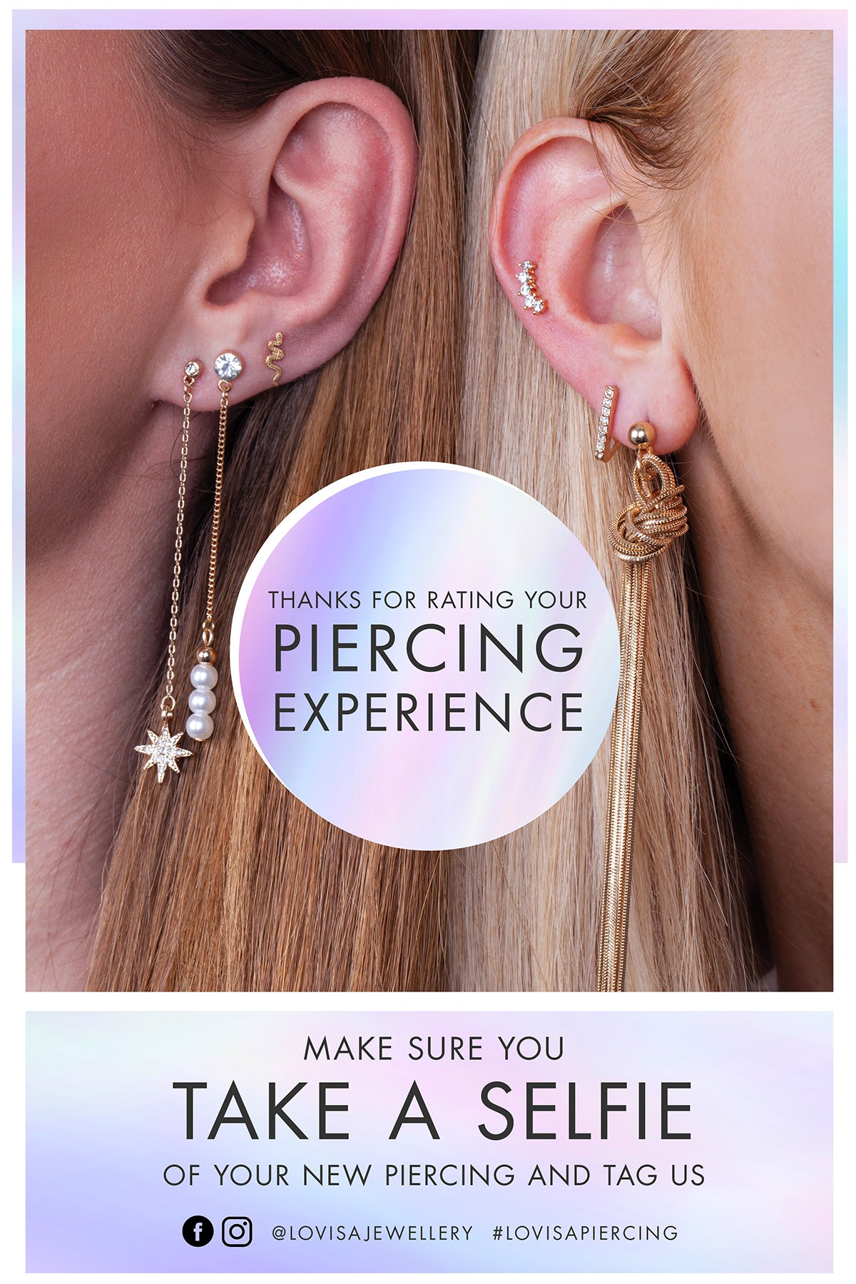 Thanks for Rating Your Piercing Experience | Make sure you take a selfie of your new piercing and tag us. | @lovisajewellery #lovisapiercing