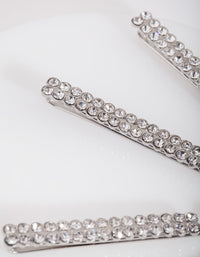 Silver Double Row Diamante Clip 4 Pack - link has visual effect only