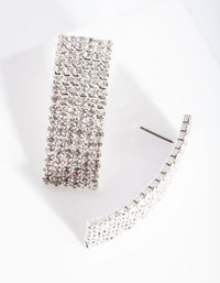 Silver Long Curve Diamante Earring - link has visual effect only
