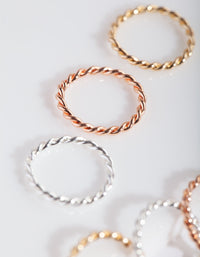 Mixed Metal Twisted Faux Body Rings