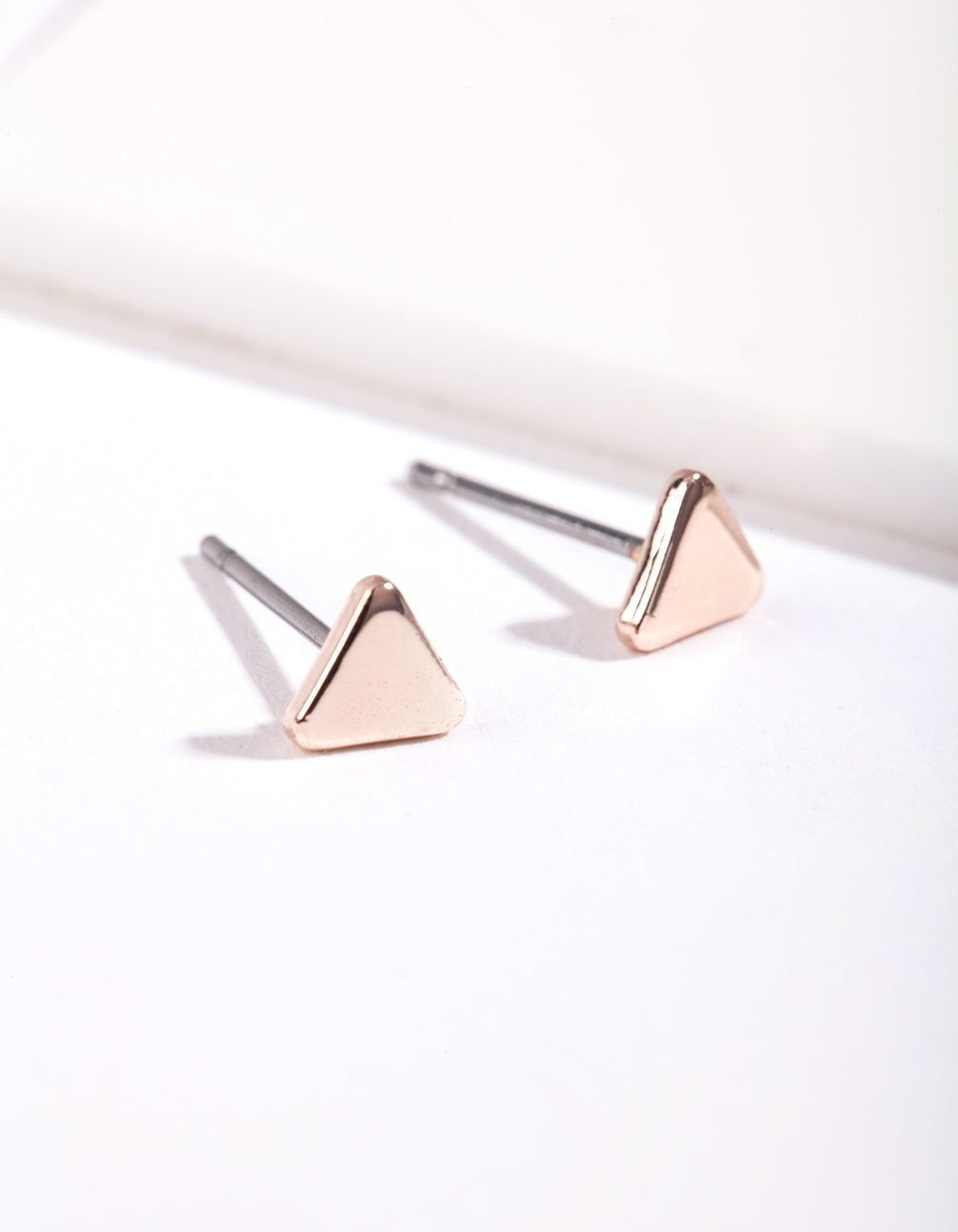 Rose Gold Mini Triangle Stud Earrings