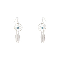 Silver Blue Stone Dreamcatcher Earring - link has visual effect only