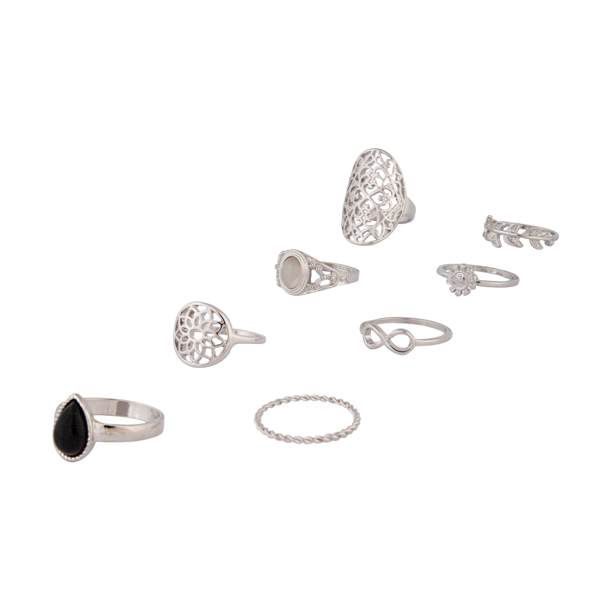 Rhodium Internal Hippy Ring 8 Pack