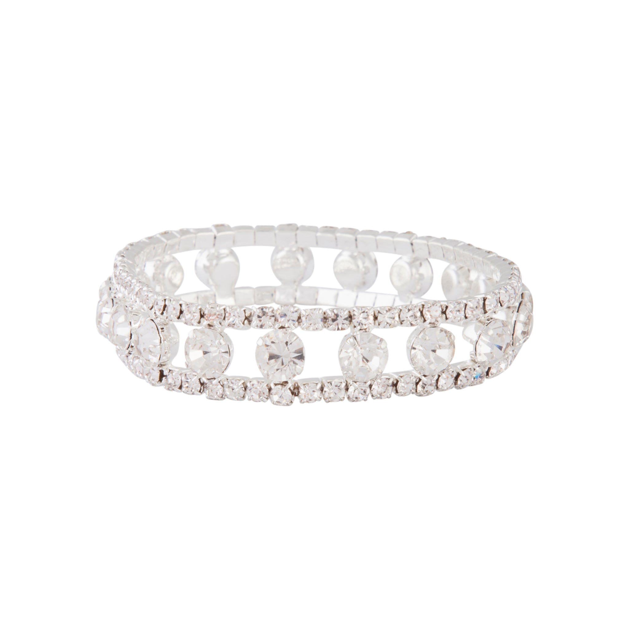 Silver Diamante Large Cup Chain Bracelet