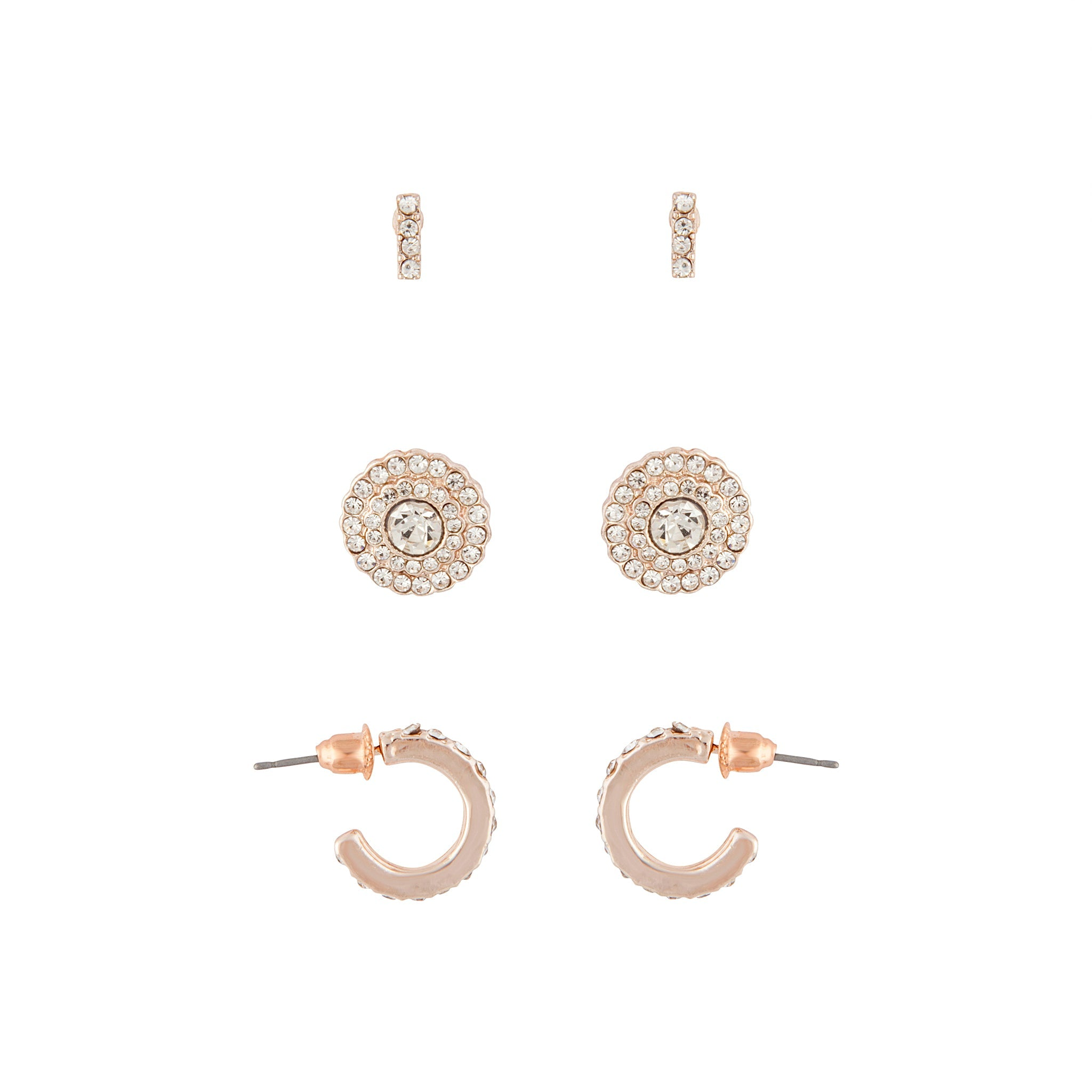 Rose Gold Detail Diamante Earring 3 Pack