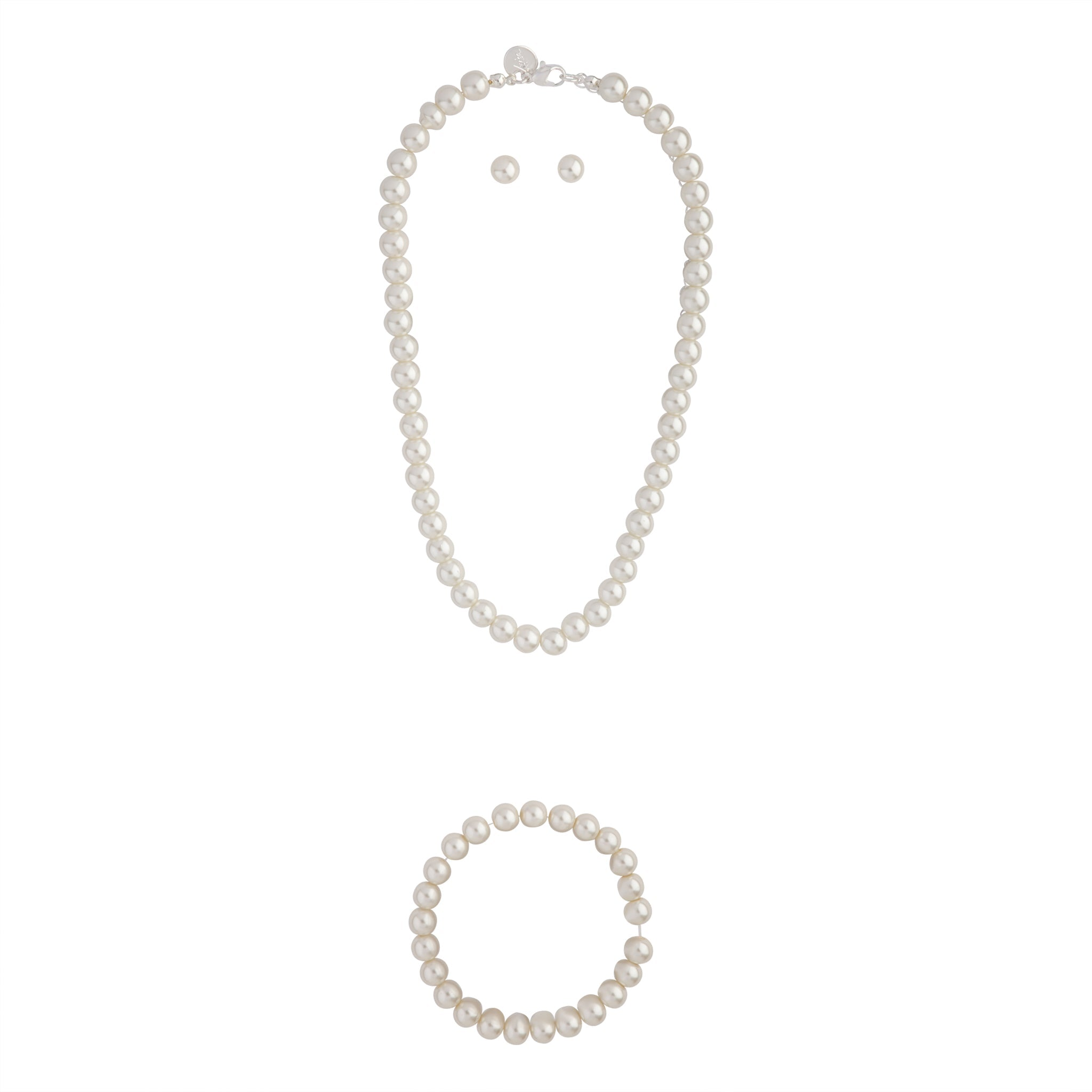 Classic Pearl Necklace Bracelet Earring Set