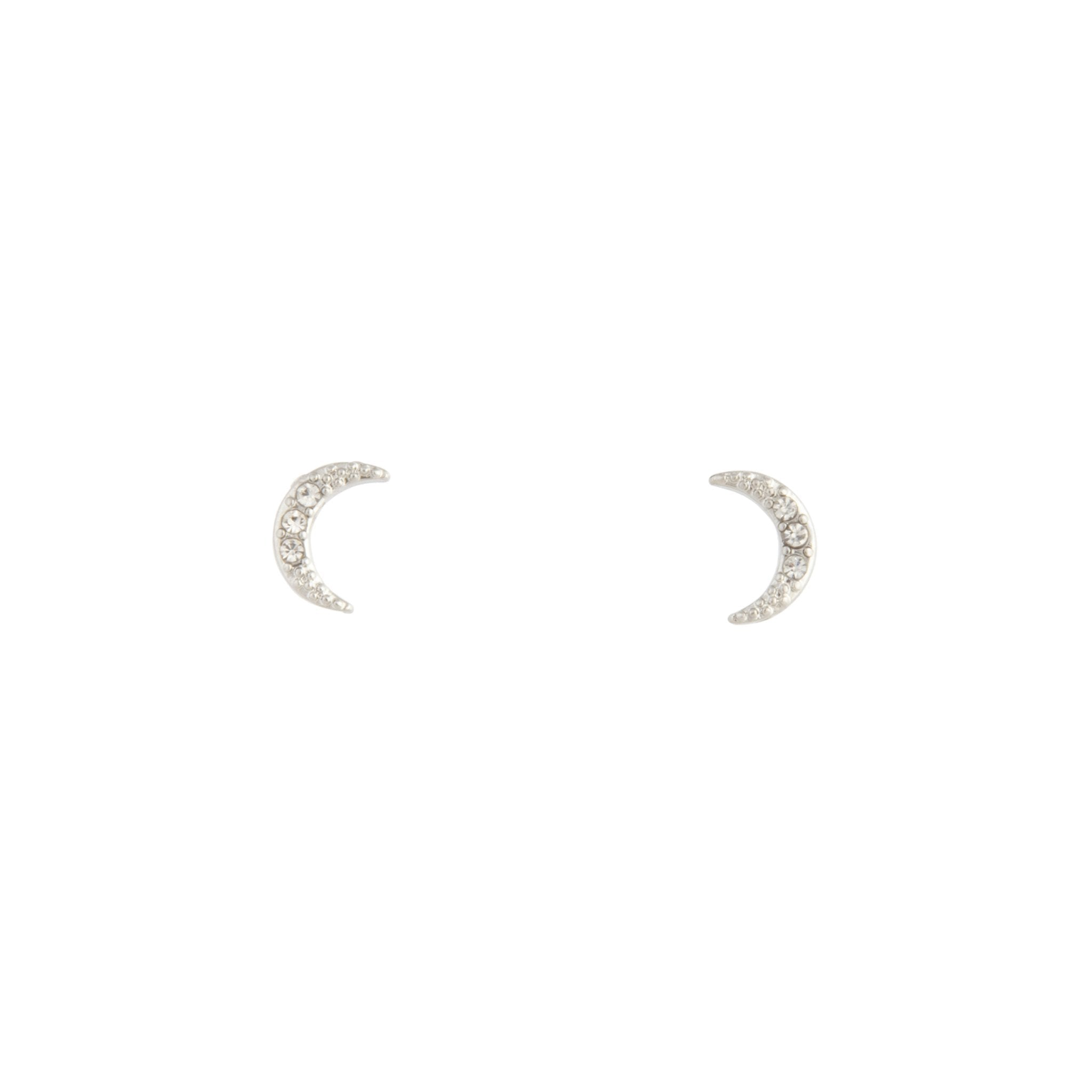 Rhodium Diamante Cresent Stud Earring