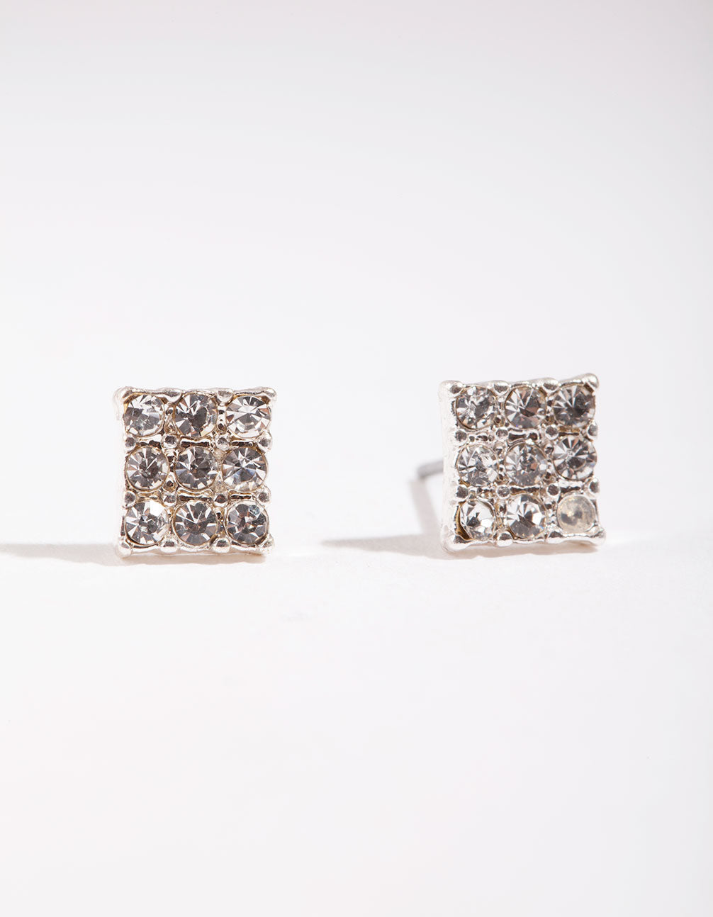 Silver Pave Diamante Square Stud Earring