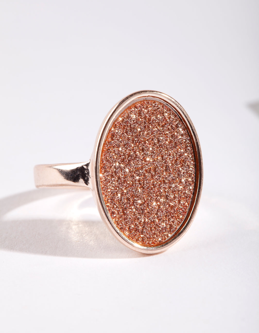 Rose Gold Oval Glitter Paper Ring