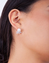 Silver Pearl Cubic Zirconia Flower Earring - link has visual effect only